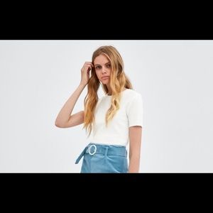 Ribbed T shirt Cropped